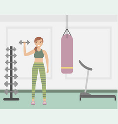 girl in uniform with dumbbells in fitness vector image
