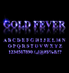 golden blue english alphabet vector image