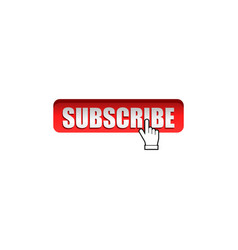 Graphic subscribe red button with hand pointer vector
