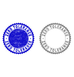 Grunge zero tolerance scratched stamps vector