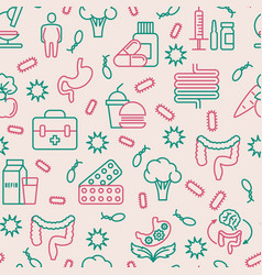 Gut flora seamless pattern with thin line icons vector