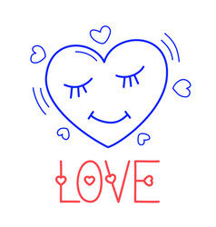 hand draw love heart icon in doodle style vector image