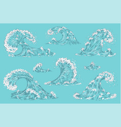 hand drawn ocean wave vintage cartoon storm waves vector image
