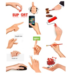 Hand holding items vector