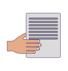 Hand with document paper blue lines vector