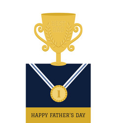 happy fathers day champion dad card vector image