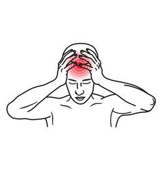 headache line art icon stress and migraine vector image