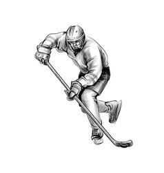 hockey player hand drawn sketch winter sport vector image