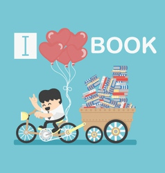i love book vector image