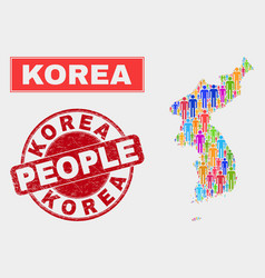 Korea map population people and unclean stamp seal vector