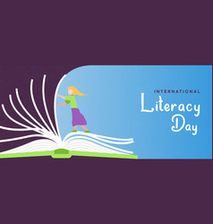 Literacy day banner girl turning open book pages vector