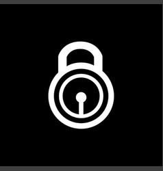 lock icon on black background black flat style vector image