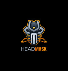 Logo robot mask gradient colorful style vector