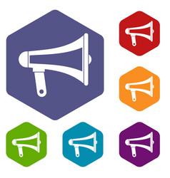 loudspeaker icons set hexagon vector image