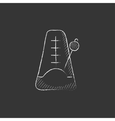 Metronome Drawn in chalk icon vector