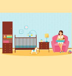Mother feeds her baby in baby room vector