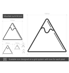 Mountain summit line icon vector