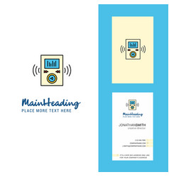 music player creative logo and business card vector image