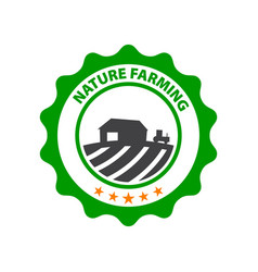 natural farming round green logo with field and vector image