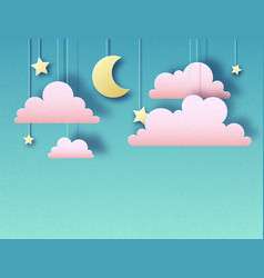 Night sky with stars clouds and moon vector