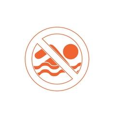 No swimming prohibition sign icon vector