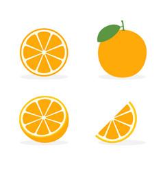 orange flat slice icon orange fruit vector image