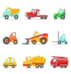 Public Service Construction And Road Working Cars vector