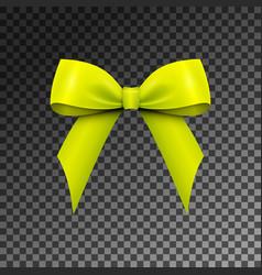 Realistic shiny green-yellow satin bow isolated vector
