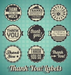 Retro Style Thank You Labels and Icons vector