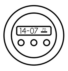 round digital clock icon outline style vector image