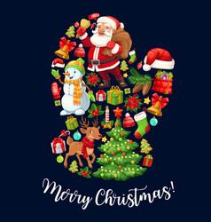 Santa claus glove with christmas holiday symbols vector