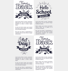 school related set of black and white stickers vector image