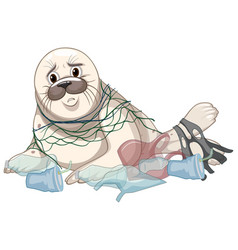 Seal gets caught with net and plastics vector