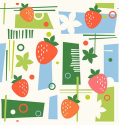 Seamless mid century modern pattern strawberries vector