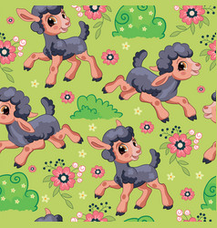 seamless pattern black lambs on green background vector image