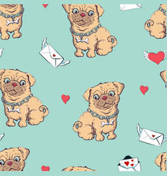 seamless pattern with dogs childish pattern vector image