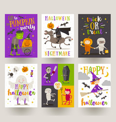 Set halloween posters or greeting card vector