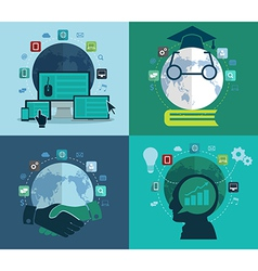 Set of flat design concept icons for web vector