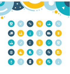 set simple icons communication service vector image