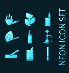 Set smoking and tobacco glowing neon icons vector