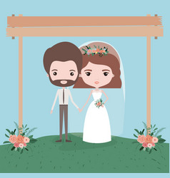 Sky landscape scene background with couple of just vector