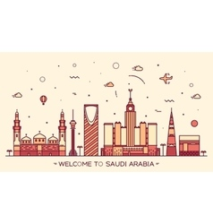 Skyline Saudi Arabia silhouette linear style vector