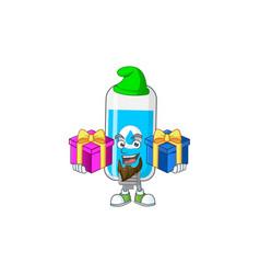 Smiling wall hand sanitizer having christmas gifts vector