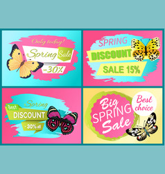spring discount sale off set emblems butterflies vector image