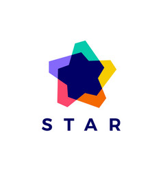 star colorful abstract overlay overlapping logo vector image