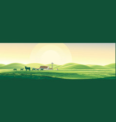 Summer rural landscape from cows and farm dawn vector