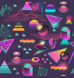 Synth wave seamless pattern futuristic background vector