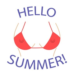T shirt graphics hello summer sexy bust vector