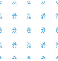 teddy bear icon pattern seamless white background vector image