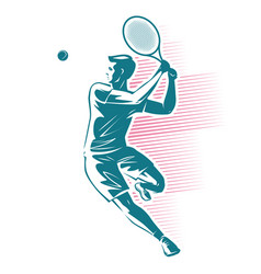 tennis player sport emblem vector image